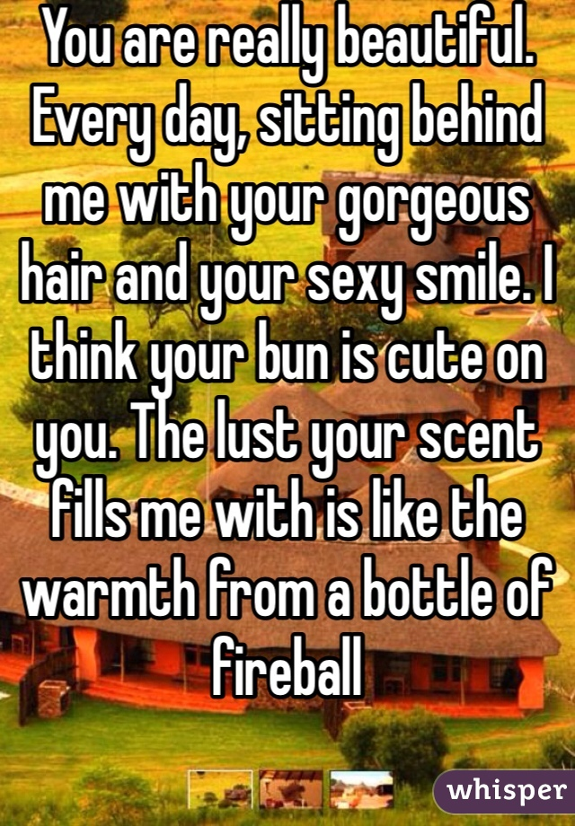 You are really beautiful. Every day, sitting behind me with your gorgeous hair and your sexy smile. I think your bun is cute on you. The lust your scent fills me with is like the warmth from a bottle of fireball