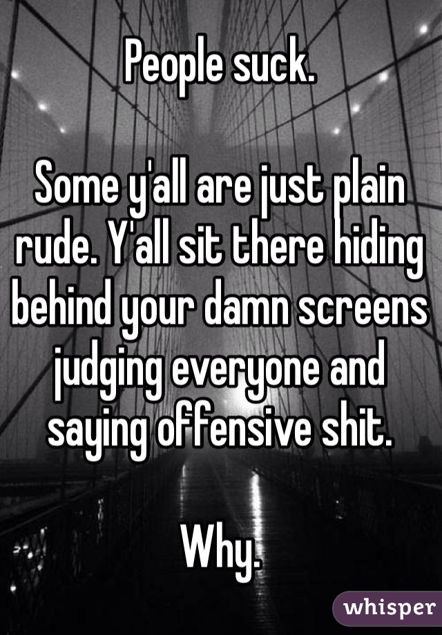 People suck.  Some y'all are just plain rude. Y'all sit there hiding behind your damn screens judging everyone and saying offensive shit.  Why.