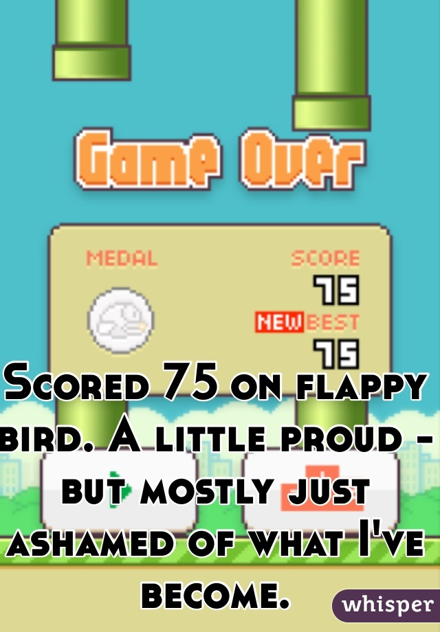 Scored 75 on flappy bird. A little proud - but mostly just ashamed of what I've become.