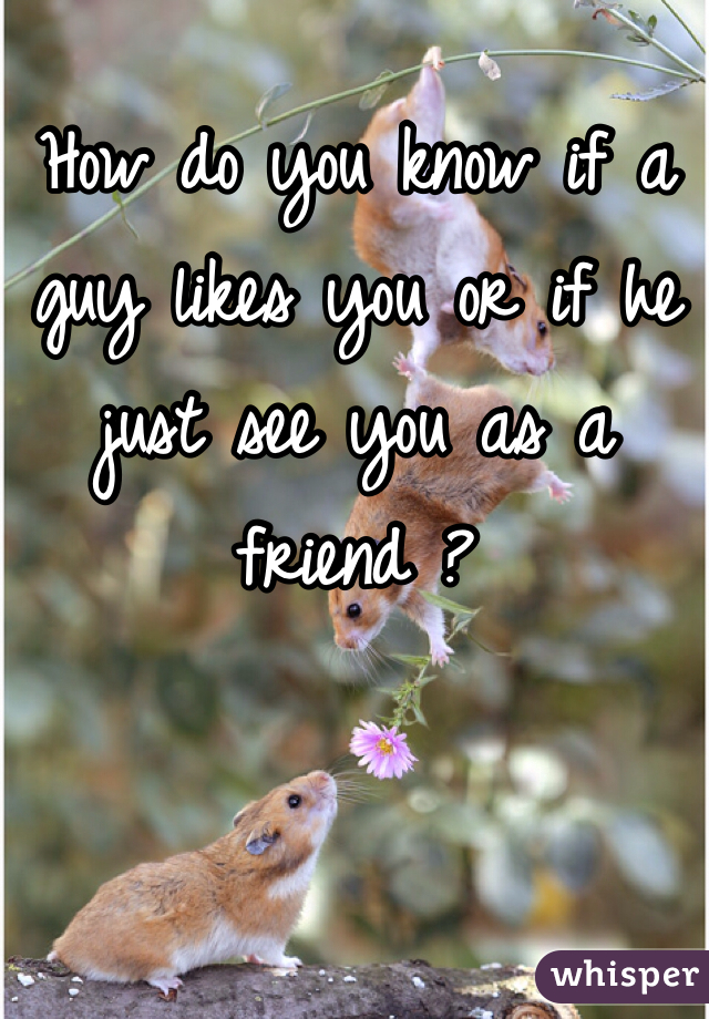 How do you know if a guy likes you or if he just see you as a friend ?