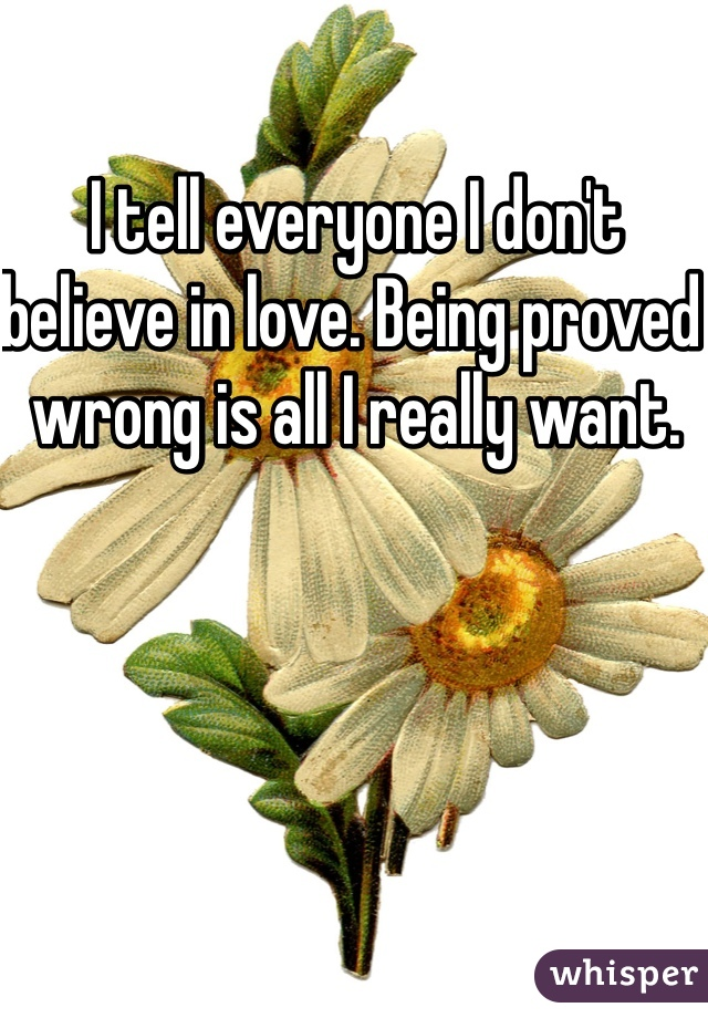 I tell everyone I don't believe in love. Being proved wrong is all I really want.