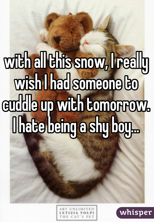 with all this snow, I really wish I had someone to cuddle up with tomorrow.  I hate being a shy boy...