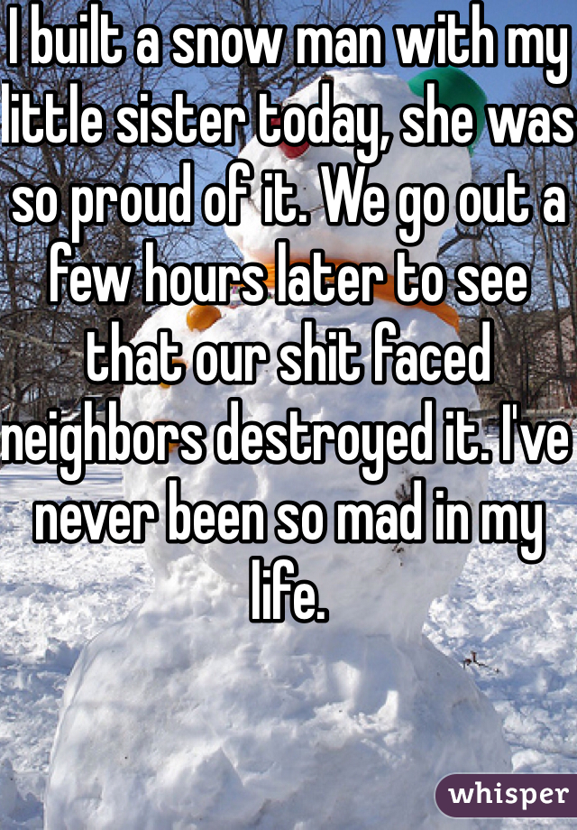I built a snow man with my little sister today, she was so proud of it. We go out a few hours later to see that our shit faced neighbors destroyed it. I've never been so mad in my life.