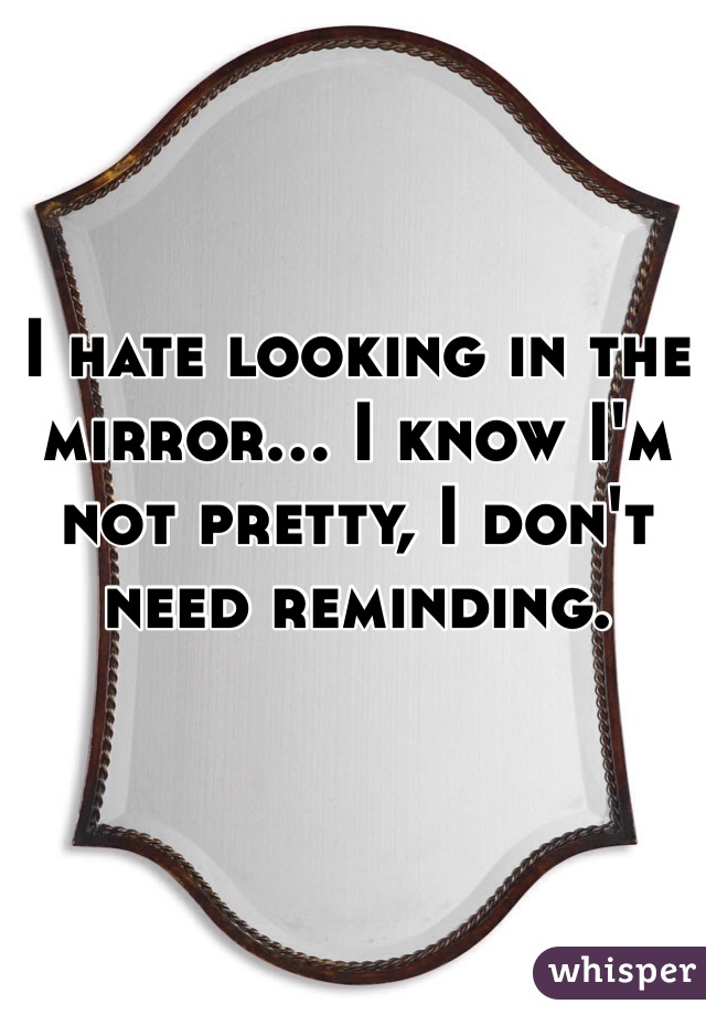 I hate looking in the mirror... I know I'm not pretty, I don't need reminding.