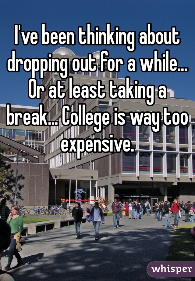 I've been thinking about dropping out for a while... Or at least taking a break... College is way too expensive.