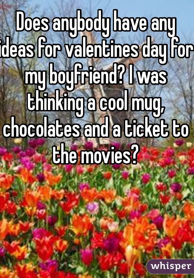 Does anybody have any ideas for valentines day for my boyfriend? I was thinking a cool mug, chocolates and a ticket to the movies?