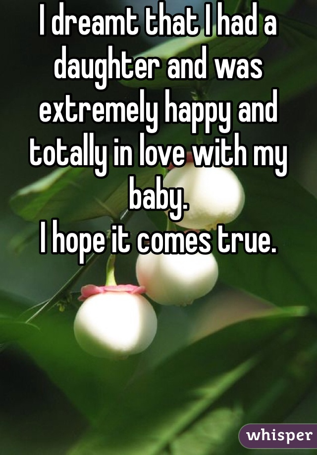 I dreamt that I had a daughter and was extremely happy and totally in love with my baby.  I hope it comes true.