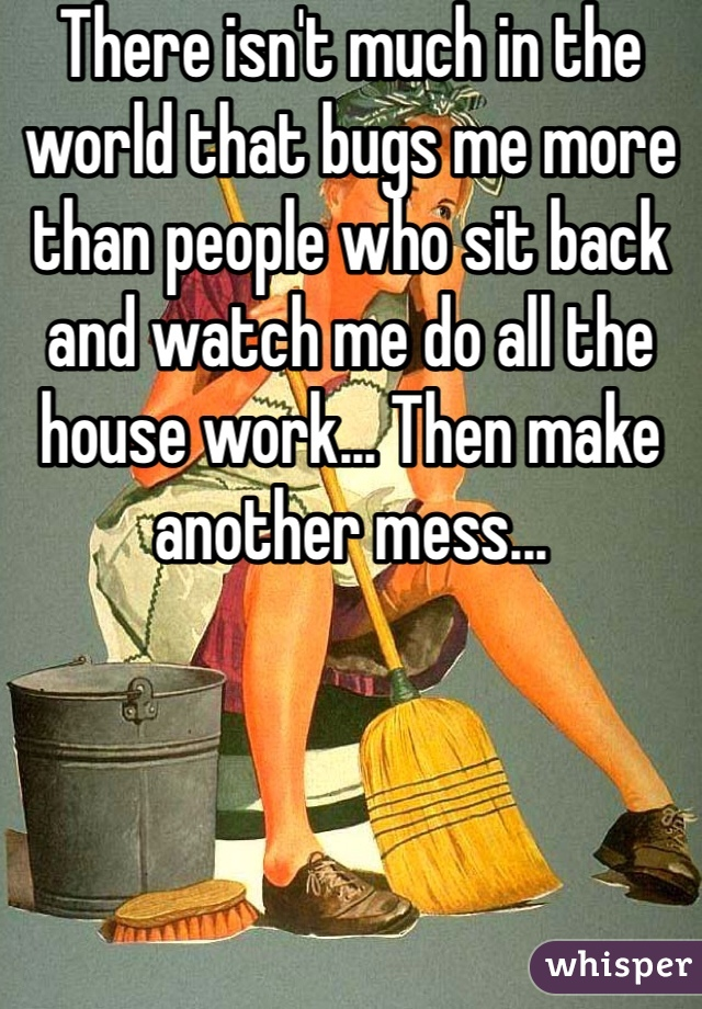 There isn't much in the world that bugs me more than people who sit back and watch me do all the house work... Then make another mess...