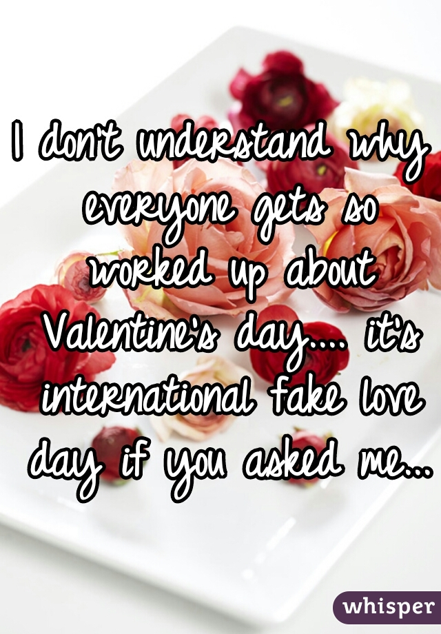 I don't understand why everyone gets so worked up about Valentine's day.... it's international fake love day if you asked me...