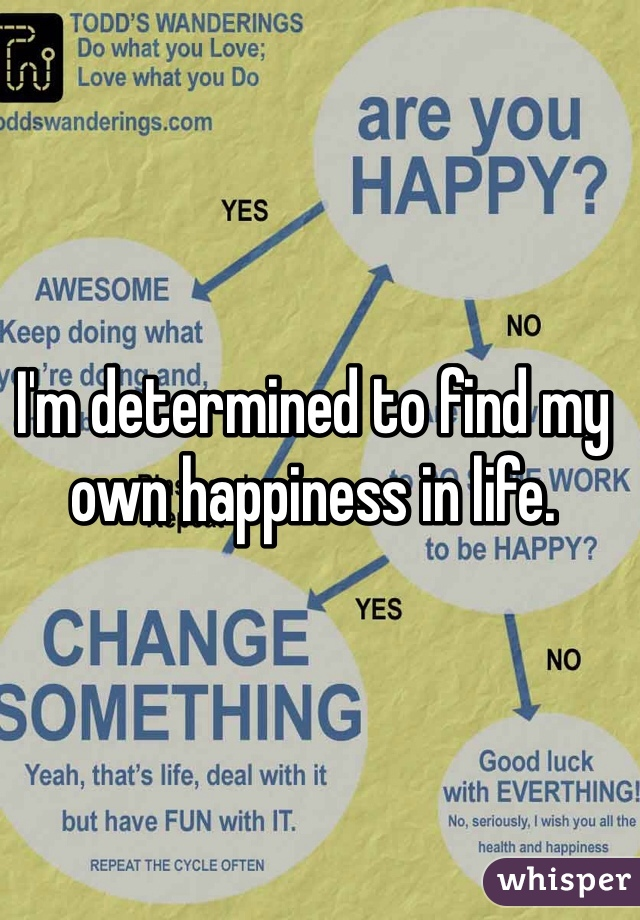I'm determined to find my own happiness in life.