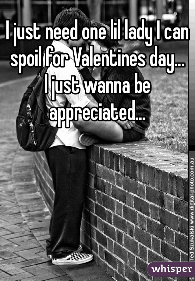 I just need one lil lady I can spoil for Valentines day...  I just wanna be appreciated...