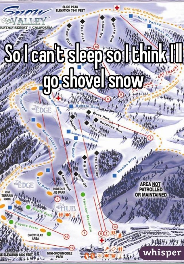 So I can't sleep so I think I'll go shovel snow