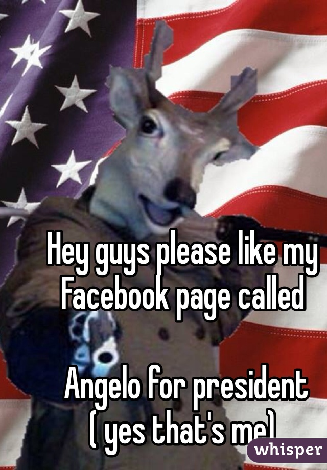 Hey guys please like my Facebook page called   Angelo for president  ( yes that's me)