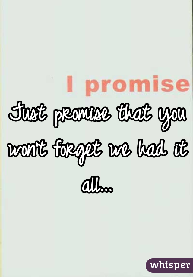 Just promise that you won't forget we had it all...
