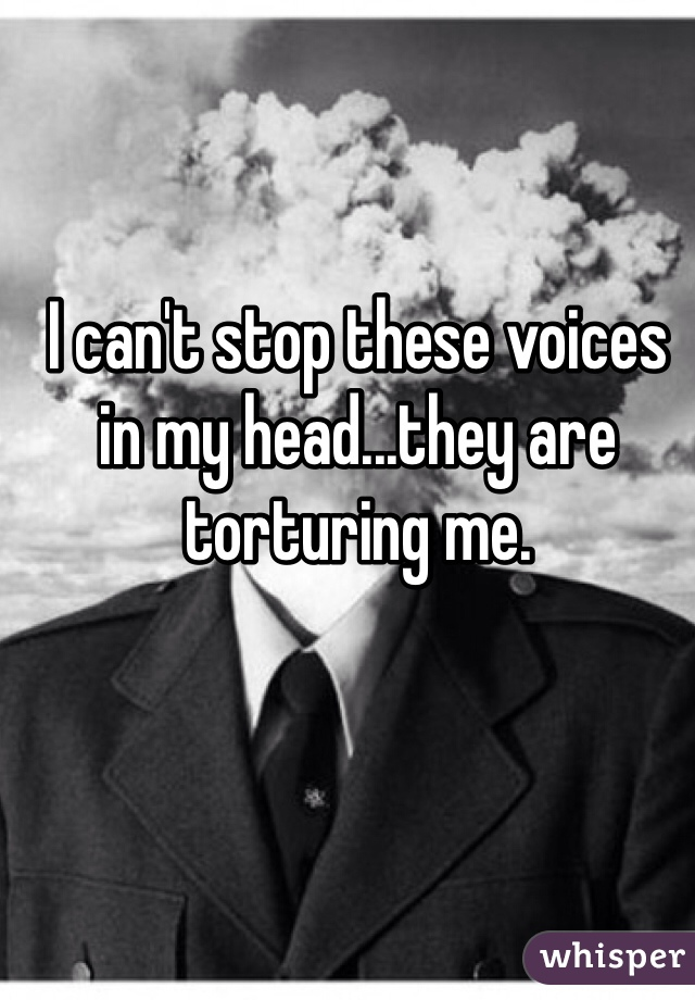 I can't stop these voices in my head...they are torturing me.
