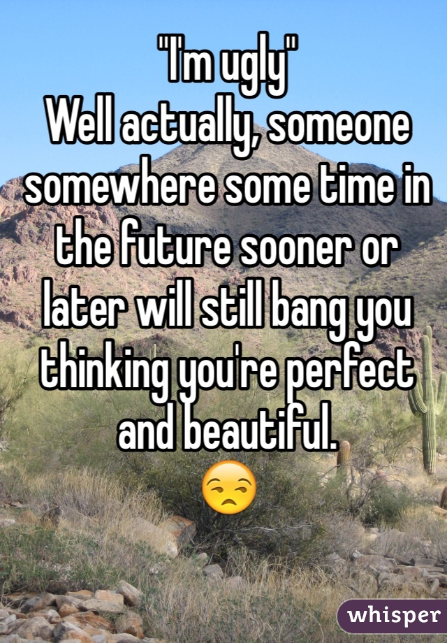 """""""I'm ugly"""" Well actually, someone somewhere some time in the future sooner or later will still bang you thinking you're perfect and beautiful.  😒"""