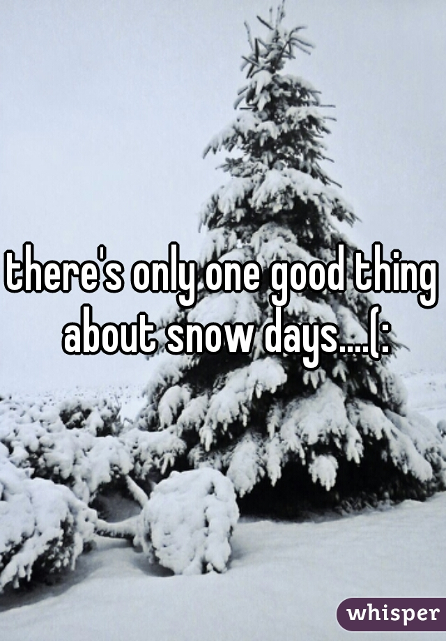there's only one good thing about snow days....(: