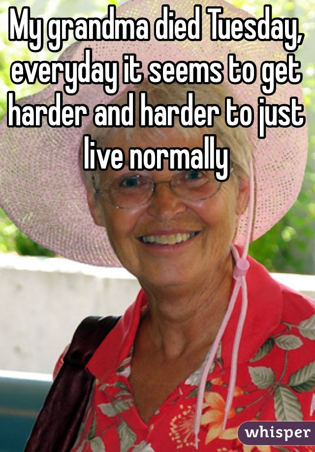 My grandma died Tuesday, everyday it seems to get harder and harder to just live normally