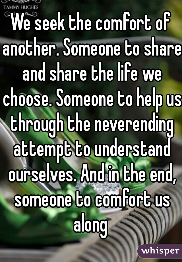 We seek the comfort of another. Someone to share and share the life we choose. Someone to help us through the neverending attempt to understand ourselves. And in the end, someone to comfort us along