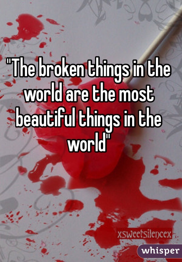 """The broken things in the world are the most beautiful things in the world"""