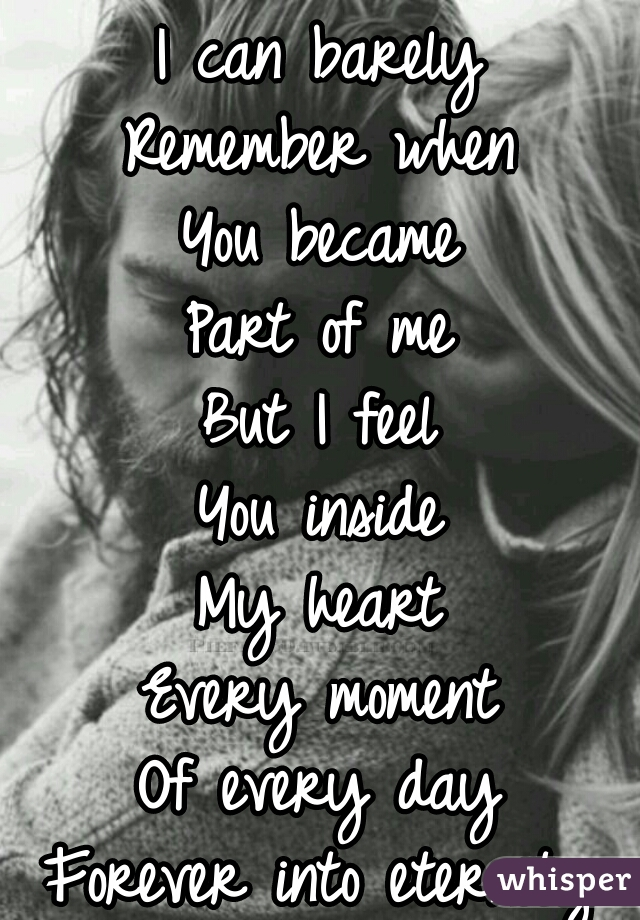 I can barely Remember when You became Part of me But I feel You inside My heart Every moment Of every day Forever into eternity