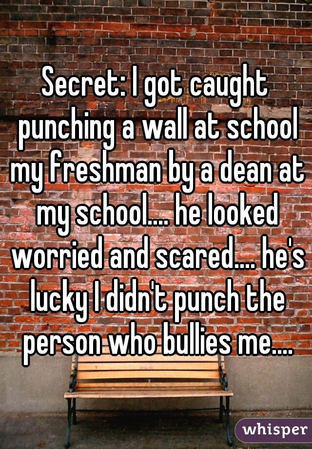 Secret: I got caught punching a wall at school my freshman by a dean at my school.... he looked worried and scared.... he's lucky I didn't punch the person who bullies me....