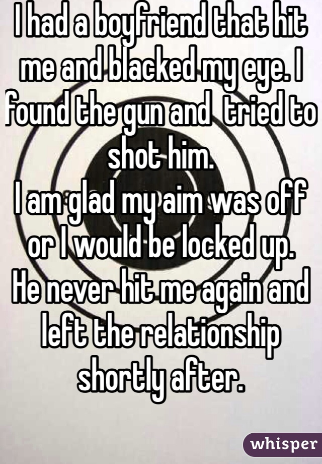 I had a boyfriend that hit me and blacked my eye. I found the gun and  tried to shot him.  I am glad my aim was off or I would be locked up.  He never hit me again and left the relationship shortly after.
