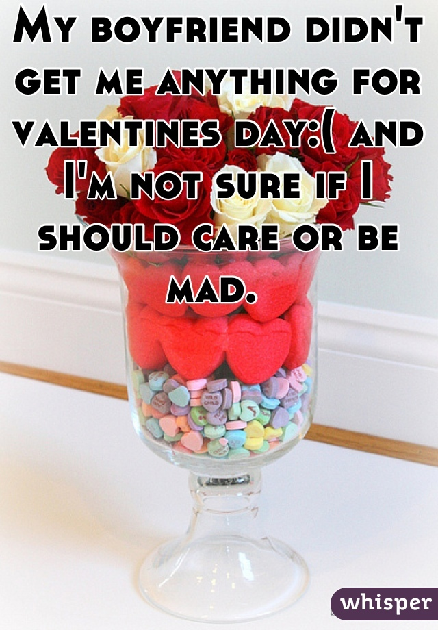 My boyfriend didn't get me anything for valentines day:( and I'm not sure if I should care or be mad.