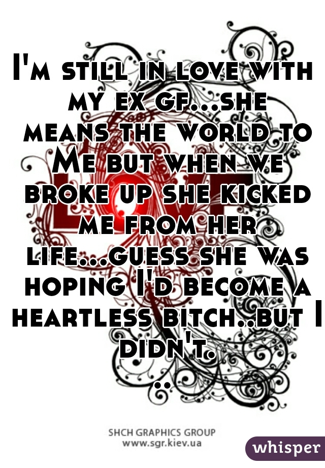 I'm still in love with my ex gf...she means the world to Me but when we broke up she kicked me from her life...guess she was hoping I'd become a heartless bitch..but I didn't...
