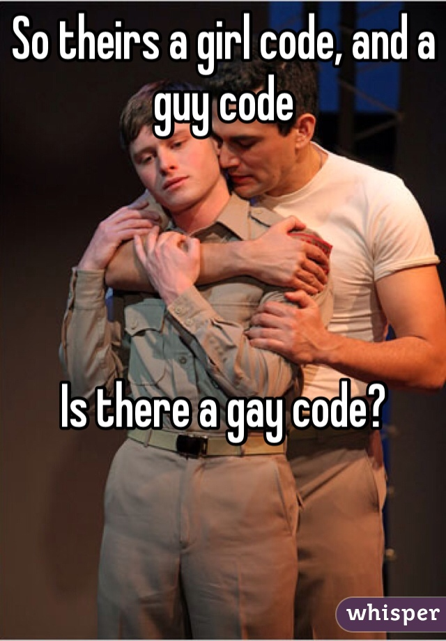 So theirs a girl code, and a guy code     Is there a gay code?