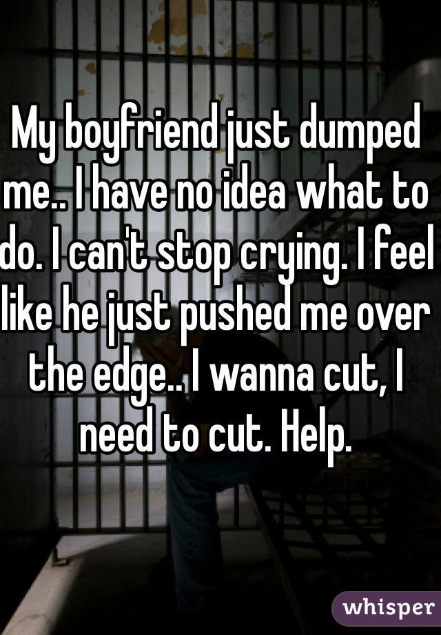 My boyfriend just dumped me.. I have no idea what to do. I can't stop crying. I feel like he just pushed me over the edge.. I wanna cut, I need to cut. Help.