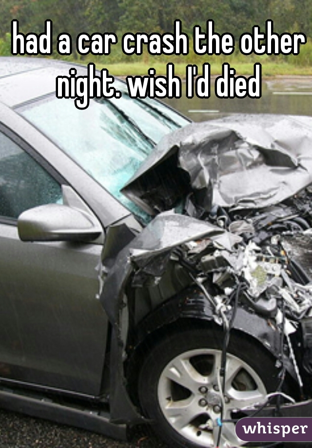 had a car crash the other night. wish I'd died