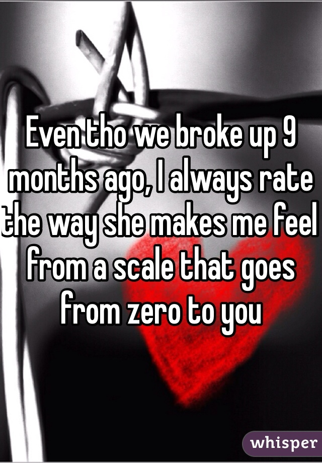 Even tho we broke up 9 months ago, I always rate the way she makes me feel from a scale that goes from zero to you