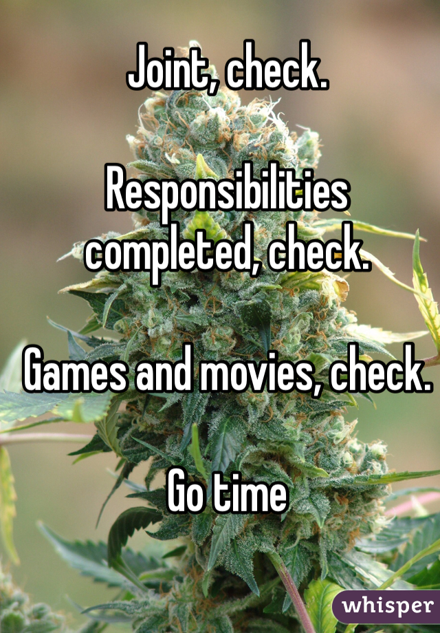 Joint, check.  Responsibilities completed, check.  Games and movies, check.  Go time