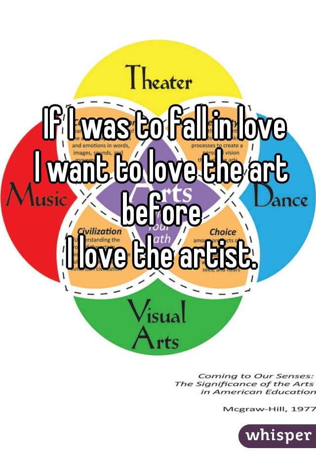 If I was to fall in love I want to love the art  before  I love the artist.