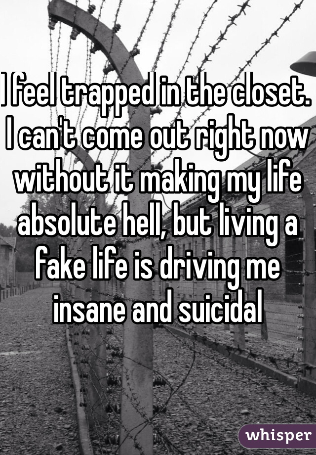 I feel trapped in the closet. I can't come out right now without it making my life absolute hell, but living a fake life is driving me insane and suicidal