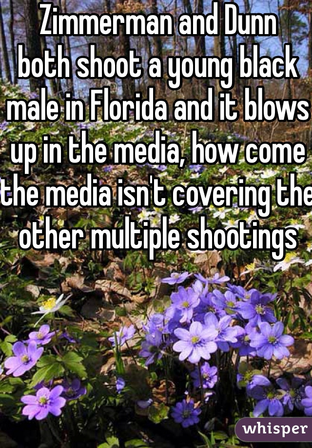 Zimmerman and Dunn both shoot a young black male in Florida and it blows up in the media, how come the media isn't covering the other multiple shootings