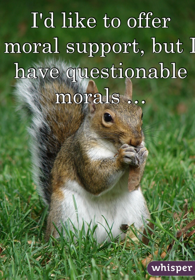 I'd like to offer moral support, but I have questionable morals …