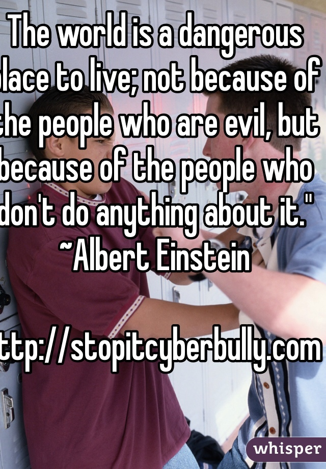 """The world is a dangerous place to live; not because of the people who are evil, but because of the people who don't do anything about it."""" ~Albert Einstein      http://stopitcyberbully.com"""