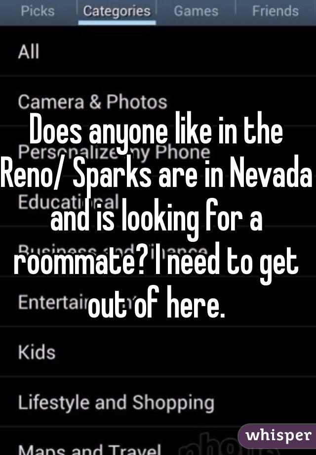 Does anyone like in the Reno/ Sparks are in Nevada and is looking for a roommate? I need to get out of here.