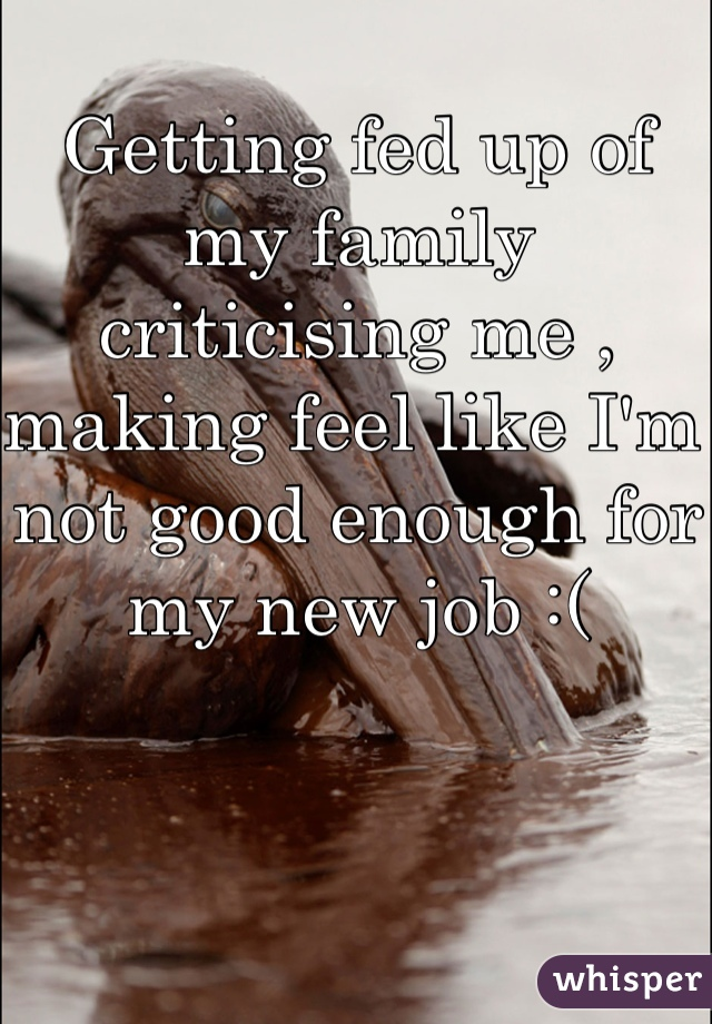 Getting fed up of my family criticising me , making feel like I'm not good enough for my new job :(