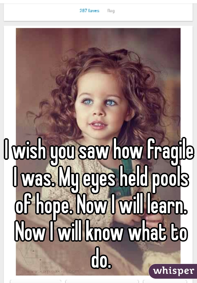 I wish you saw how fragile I was. My eyes held pools of hope. Now I will learn. Now I will know what to do.
