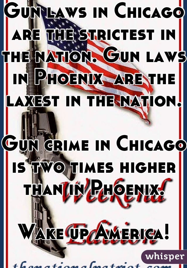 Gun laws in Chicago are the strictest in the nation. Gun laws in Phoenix  are the laxest in the nation.  Gun crime in Chicago is two times higher than in Phoenix.  Wake up America!