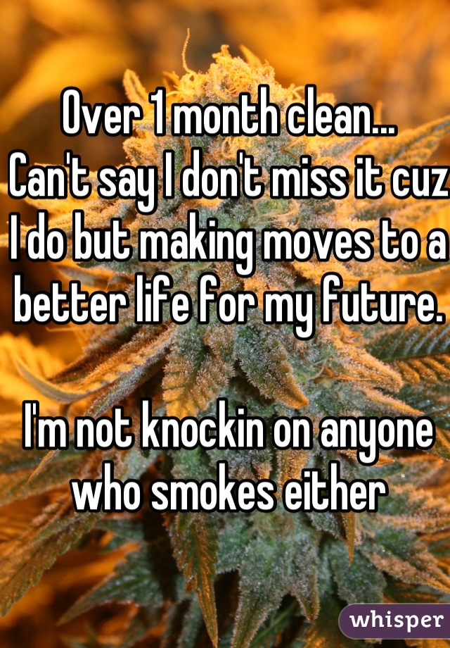Over 1 month clean... Can't say I don't miss it cuz I do but making moves to a better life for my future.   I'm not knockin on anyone who smokes either