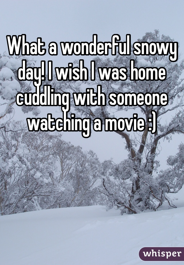 What a wonderful snowy day! I wish I was home cuddling with someone watching a movie :)