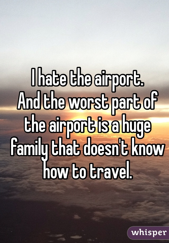 I hate the airport.  And the worst part of the airport is a huge family that doesn't know how to travel.