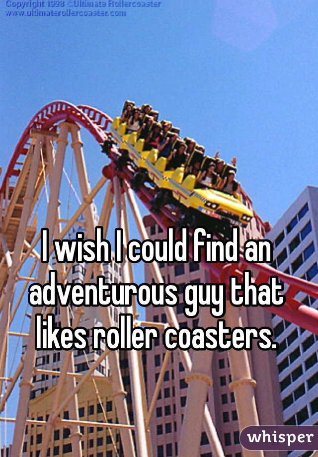 I wish I could find an adventurous guy that likes roller coasters.