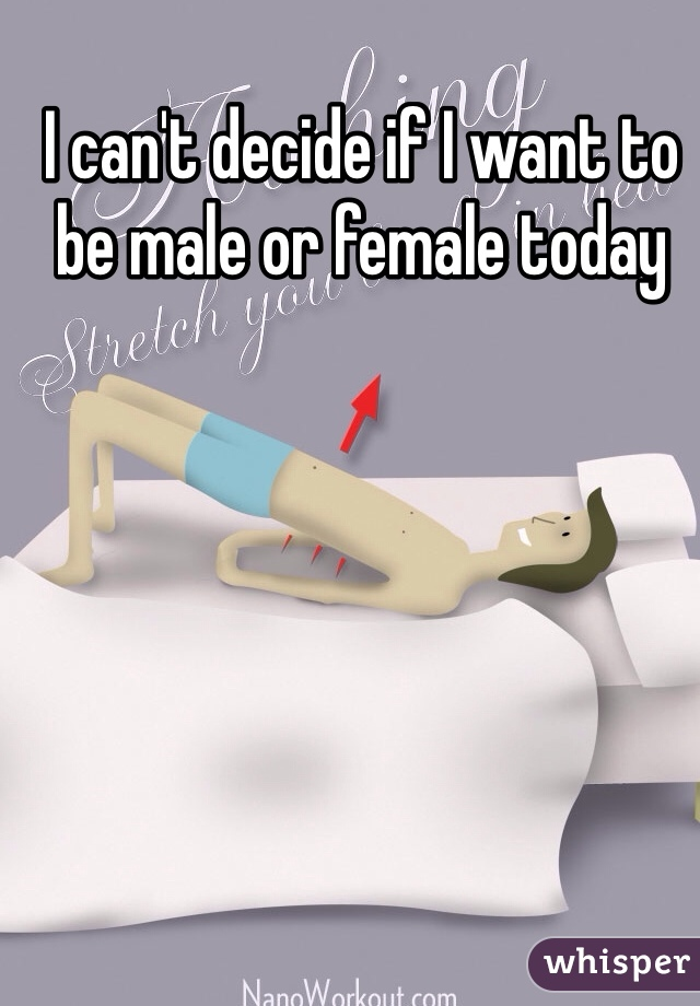 I can't decide if I want to be male or female today