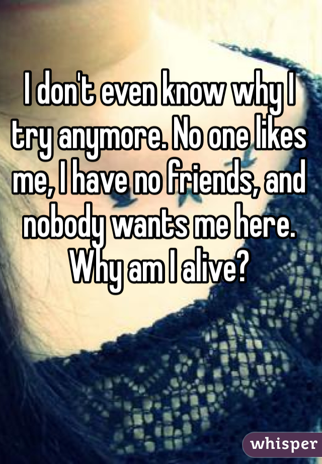 I don't even know why I try anymore. No one likes me, I have no friends, and nobody wants me here. Why am I alive?