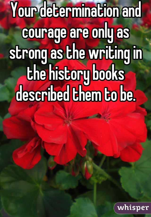 Your determination and courage are only as strong as the writing in the history books described them to be.